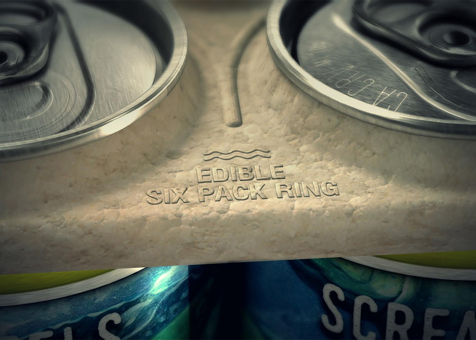 Edible six-pack rings by We Believers x Saltwater Brewery