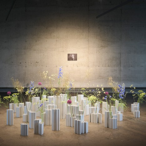 Bouroullec brothers install floral Zaha Hadid tribute at Vitra Fire Station