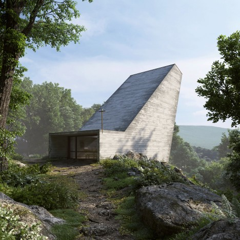 Alpine chapel designed by Joaquim Portela Arquitetos as a giant light funnel