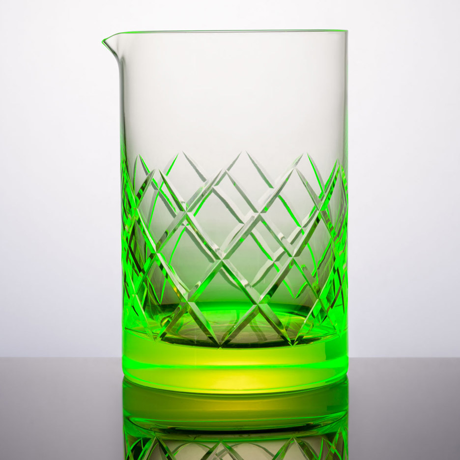 Martin Jakobsen's uranium glassware glows bright green
