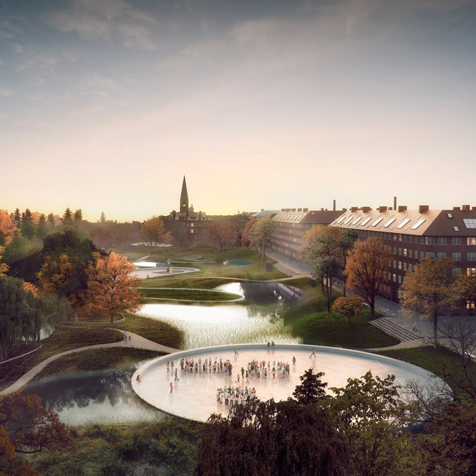 Sunken pools and planting proposed to ease flooding in Copenhagen neighbourhood