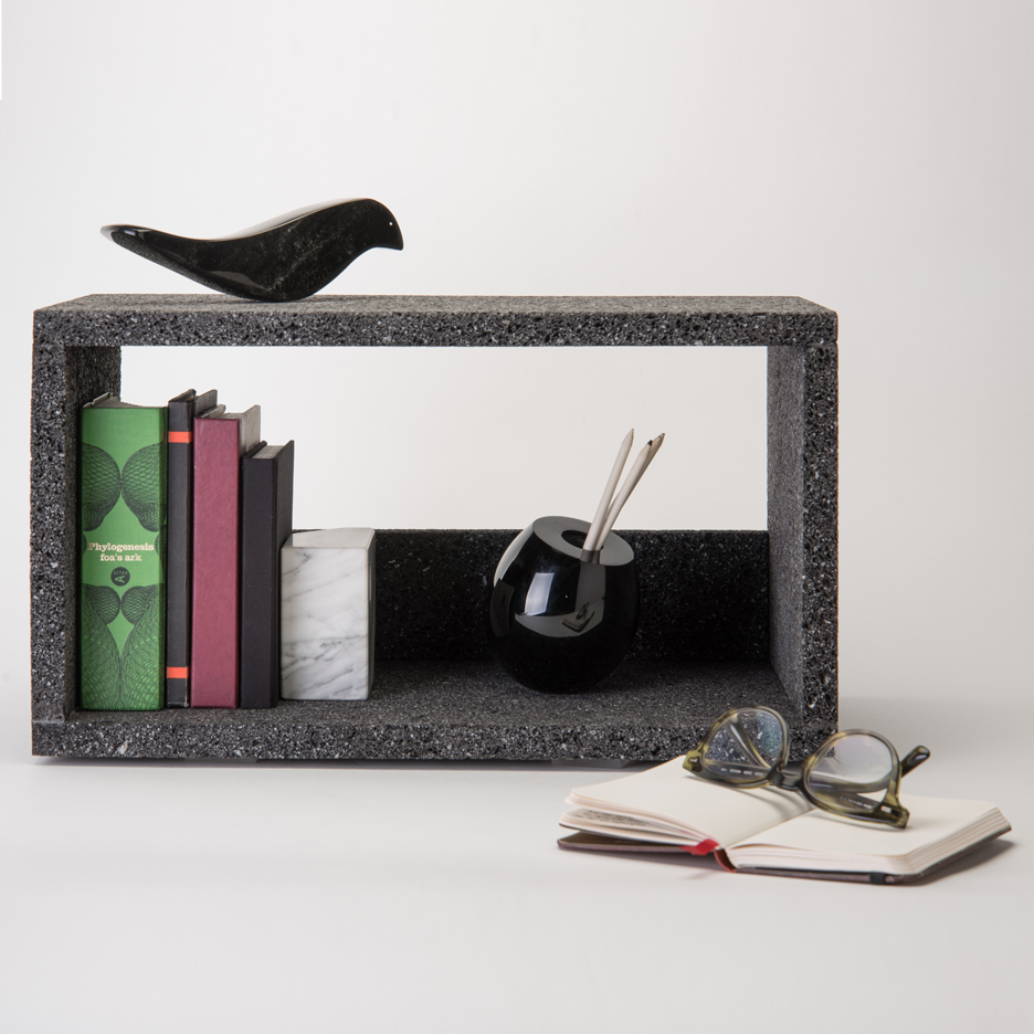 Peca crafts shelves and cubbyholes from volcanic rock