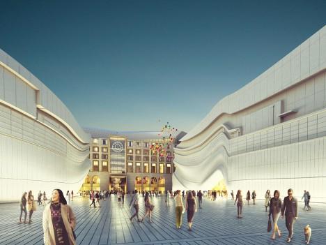 "Golden ""sunbeam"" to mark entrance to MVRDV-designed shopping centre and nightclub complex"