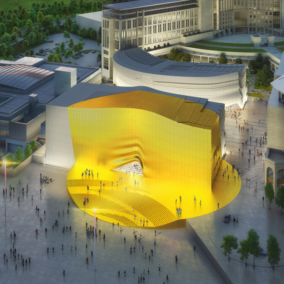 "Golden ""sunbeam"" to mark entrance to MVRDV-designed shopping centre and nightclub complex"