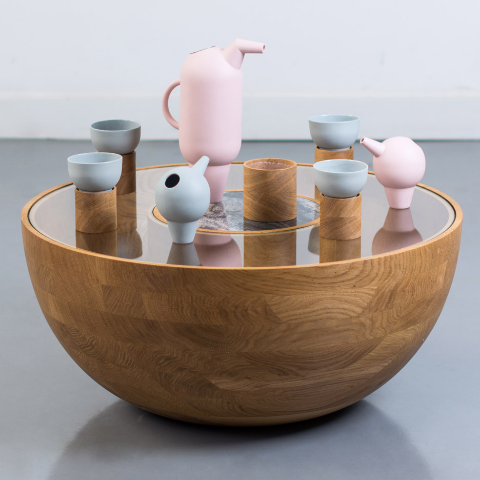 Roxanne Flick bases ceramic tea set on the shape of flamingos
