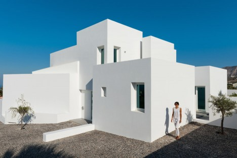 Santorini summer house by Kapsimalis Architects is formed of bright white blocks