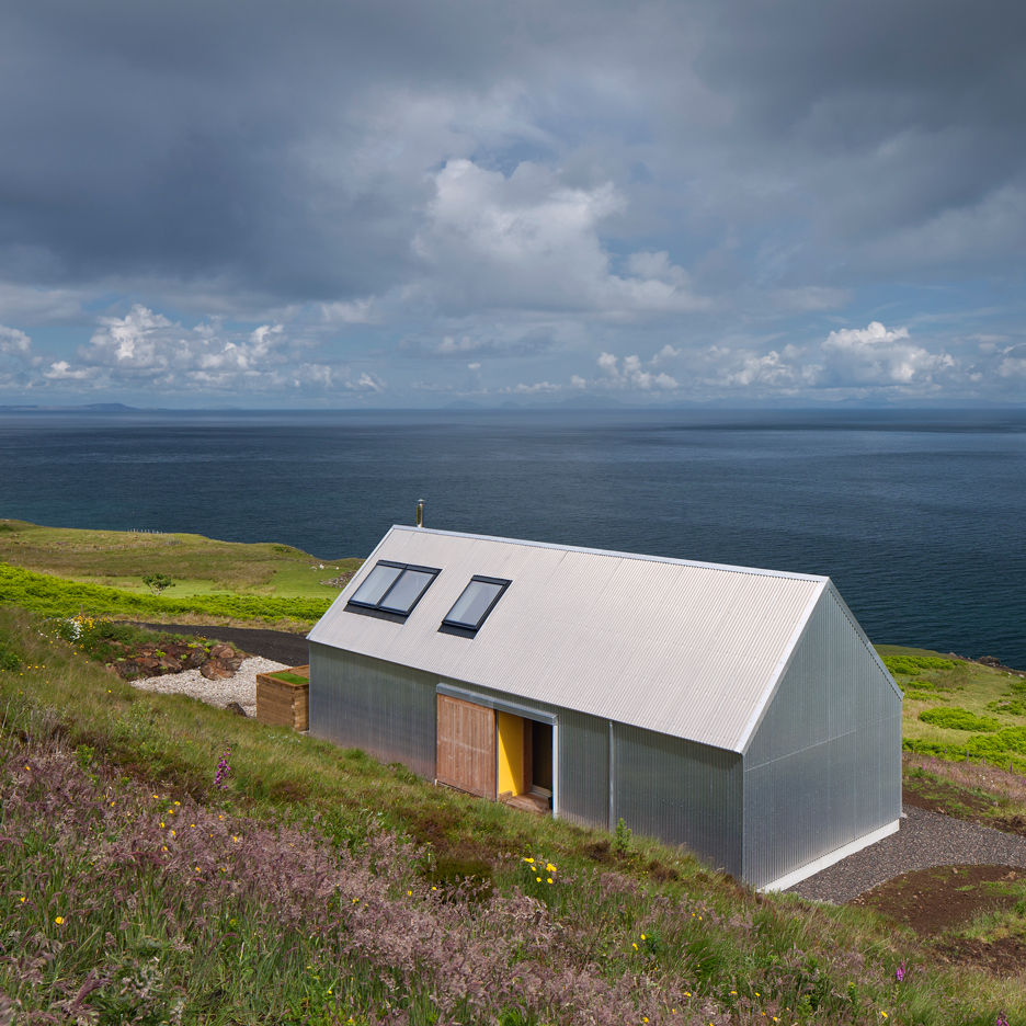 The Tinhouse by Rural Design is a self-built corrugated-metal dwelling on a Scottish island