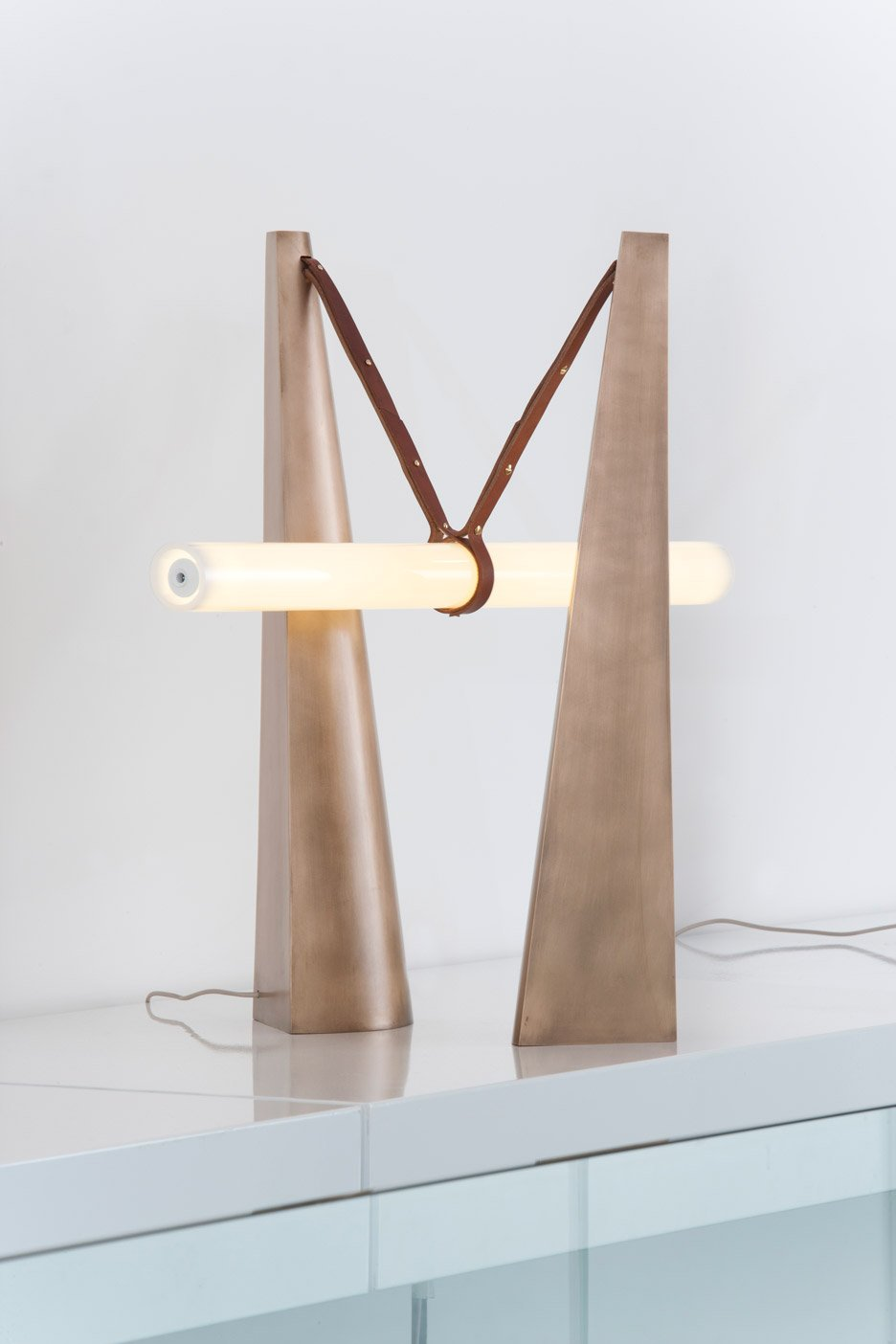 Bec Brittain designs architectural looking lamps for the Patrick Parrish Gallery in New York