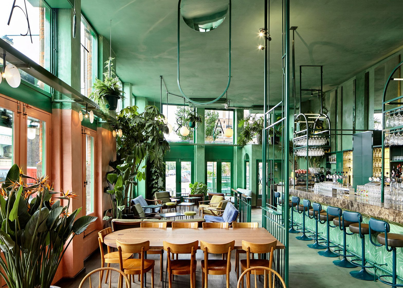 6 of 21 bar botanique in amsterdam by studio modijefsky is filled with tropical plants