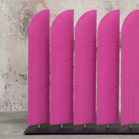 Alain Gilles designs felt BuzziBlinds to shield workers from office noise