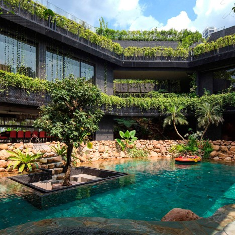 Cornwall Gardens is a huge Singapore home with a stepped garden on its roof