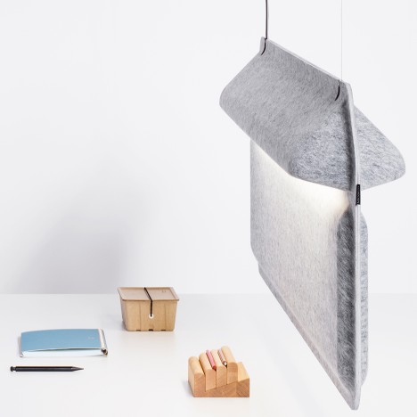 De Vorm's Workspace Divider lamp adds privacy to open offices