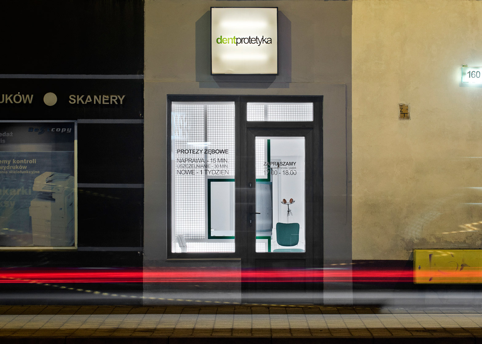 Adam Wiercinski creates denture clinic with green cross interior for Dent Protetyka