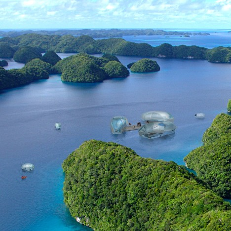 HOK envisions flying hotel pods that can access remote holiday destinations
