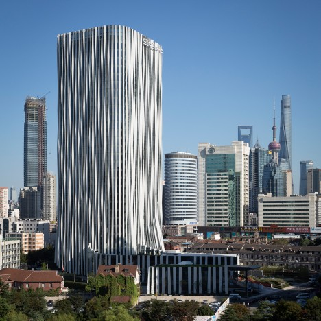 Kengo Kuma dresses Shanghai tower in pleated aluminium for Soho China