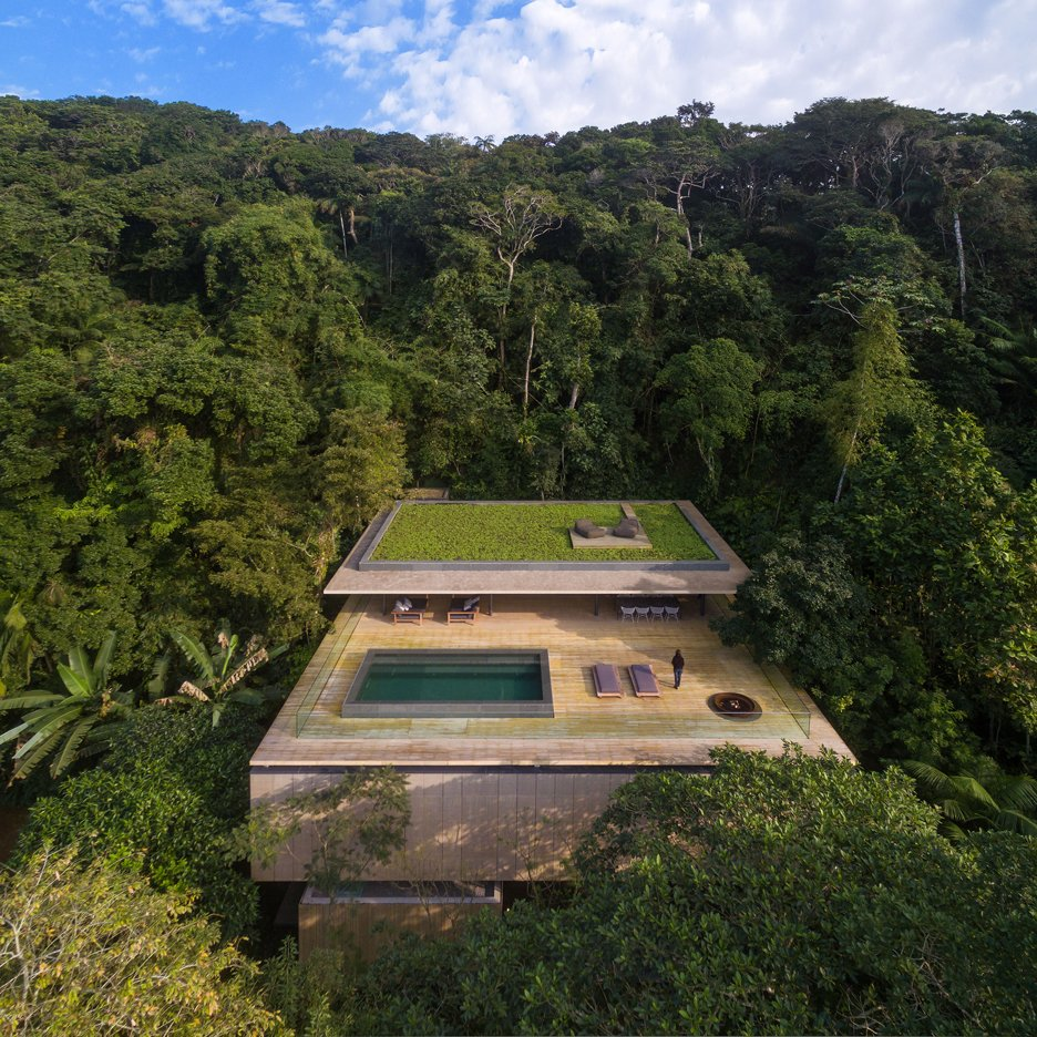 Jungle House by Studio MK27 features a rooftop infinity pool with views over a Brazilian rainforest