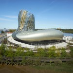 Bordeaux wine museum by XTU Architects features bulging gold-striped body