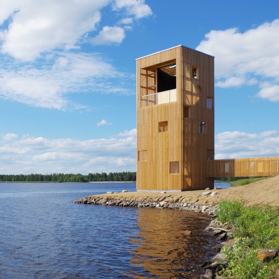 OOPEAA builds wooden Periscope Tower beside lake in Finland