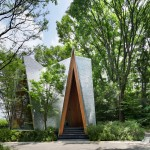 Sayama Forest Chapel by Hiroshi Nakamura is covered with hand-bent aluminium shingles