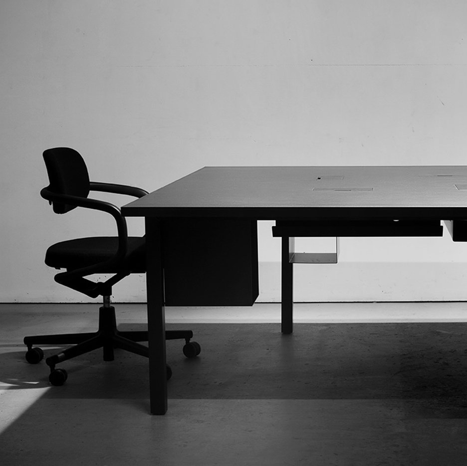 Bespoke Silhouette desks designed by Pernilla Ohrstedt for the Dezeen office