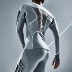 Condom material becomes sportswear for Pauline van Dongen's long-jump suit