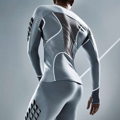 Condom material becomes sportswear for Pauline van Dongen's long-jump suit