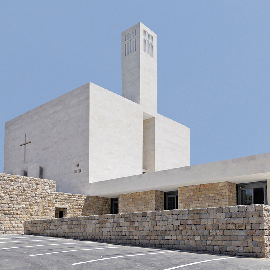 Cross-shaped windows allow light to filter into Lebanese church by Maroun Lahoud