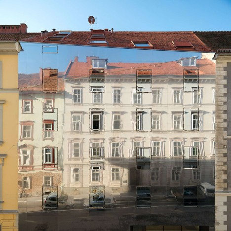 Hope of Glory adds mirrored apartment block to street of historic buildings in Graz