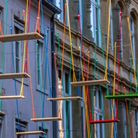 Max Mertens installs sea of swings over a busy Luxembourg street