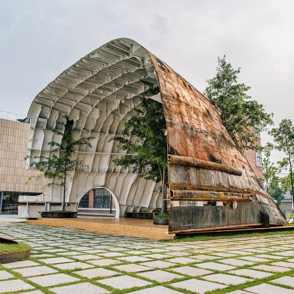 Rusty ship transformed into cavernous pavilion for MoMA's Young Architects Program in Seoul