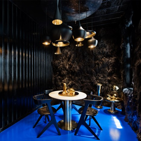 Tom Dixon's Howard Street store in New York includes a furry room