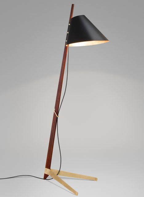 Ilse Crawford designs brass-footed floor lamp for Kalmar Werkstätten