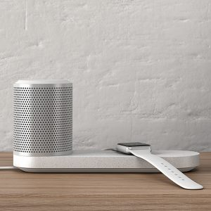 "Blond designs portable speaker and charging tray for ""interior conscious consumer"""