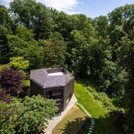 Faceted house by Daluz Gonzalez Architekten features nest-like roof terrace