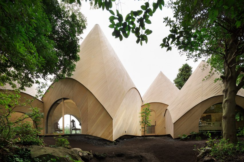Teepee-shaped Jikka complex by Issei Suma features community kitchen and spiral-shaped pool