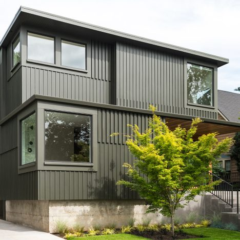 Beebe Skidmore's dark green Portland home takes cues from Arts and Crafts architecture