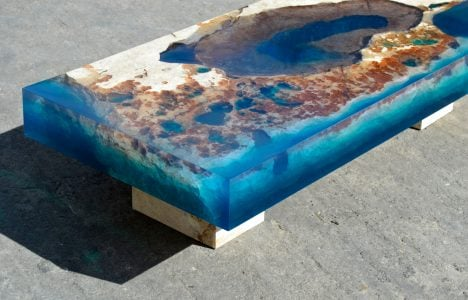 Alexandre Chapelin cut stone resin tables