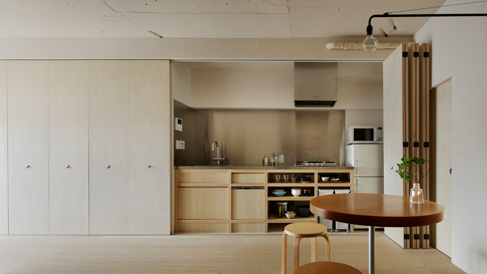 Tokyo Apartment By Minorpoet Features Kitchen Hidden Behind Folding