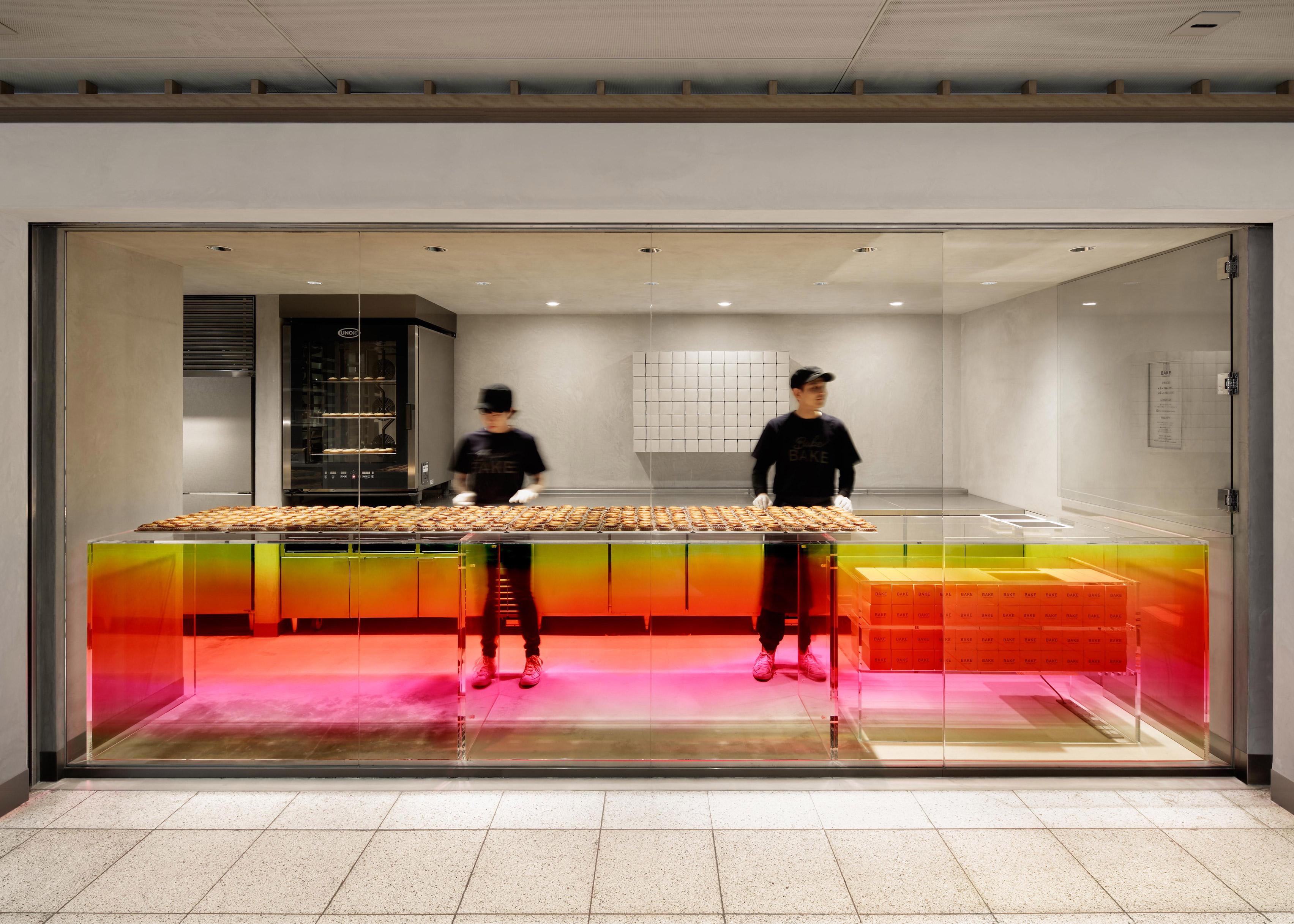 Sunset-hued counter welcomes customers at Tokyo cheese tart shop