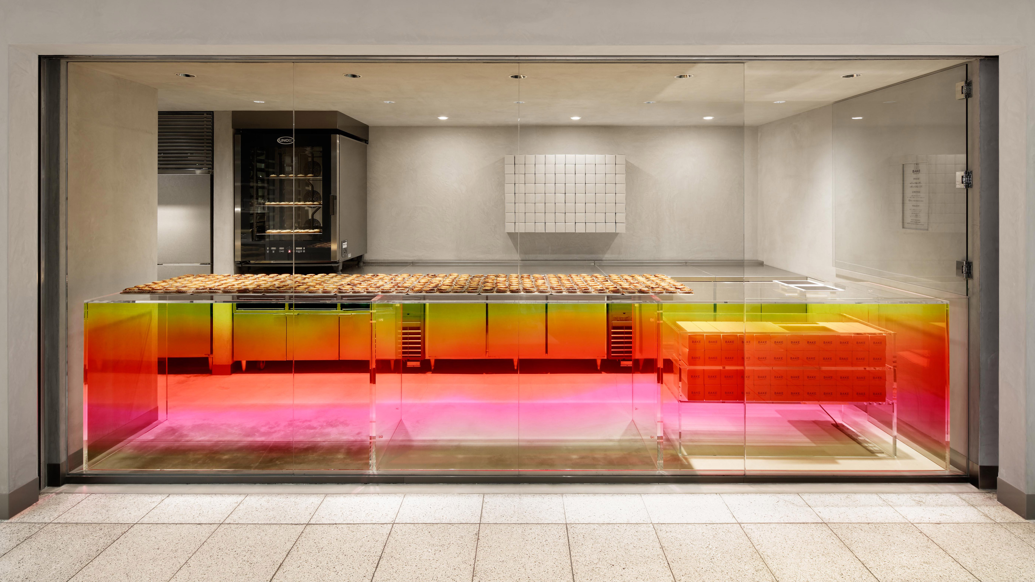 Sunset Hued Counter Welcomes Customers At Tokyo Cheese Tart Shop By Yota  Kakuda
