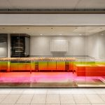 Sunset-hued counter welcomes customers at Tokyo cheese tart shop by Yota Kakuda