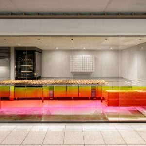 Sunset-hued counter welcomes customers at Tokyo cheese tart shop