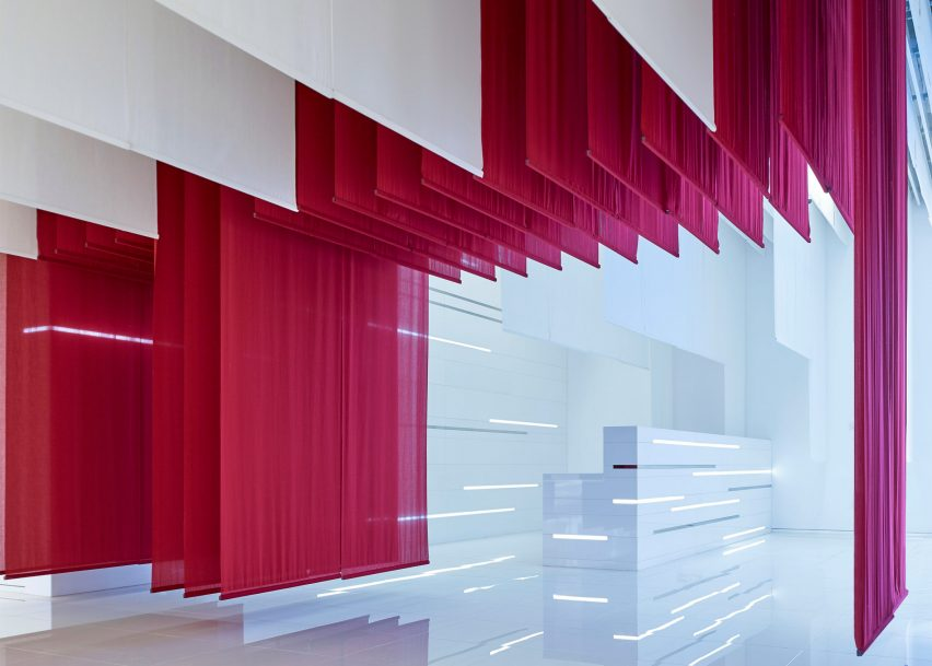 Fabric Interior Design Bmw Museum Features Hanging Chinese Gates Made Of Fabric