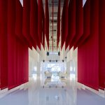 Beijing BMW museum features hanging Chinese gates made of fabric