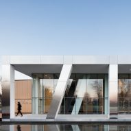 Chunky steel-clad columns front ACDF's Diane Dufresne Art Centre in Canada