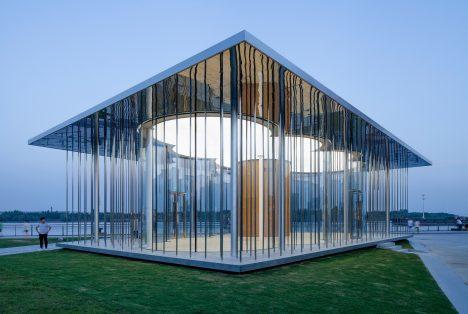 Schmidt Hammer Lassen's Cloud Pavilion is an ephemeral glass-walled events space in Shanghai