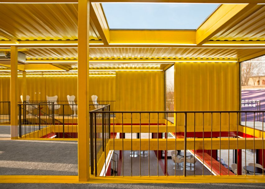 Stacked shipping containers form temporary pavilion by People's Architecture Office
