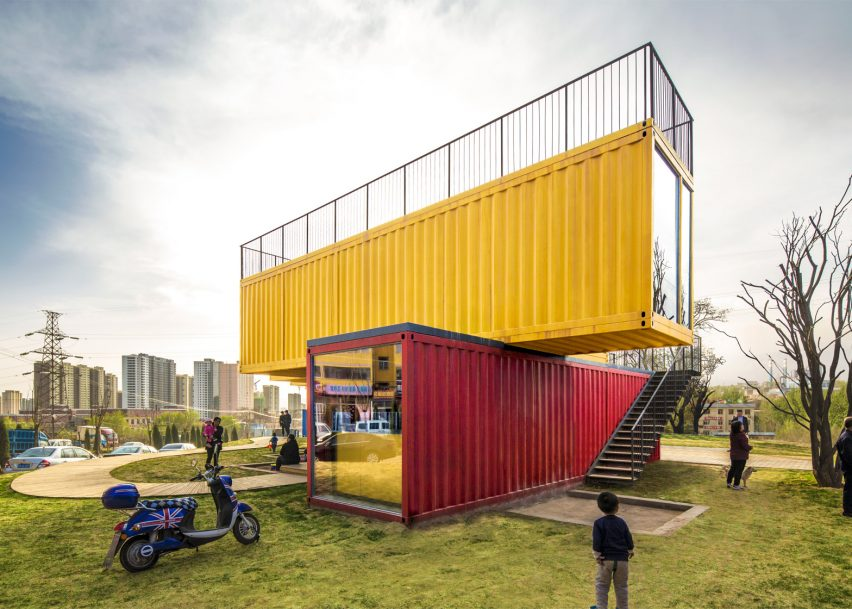 stacked shipping containers form pavilionpeople's architecture