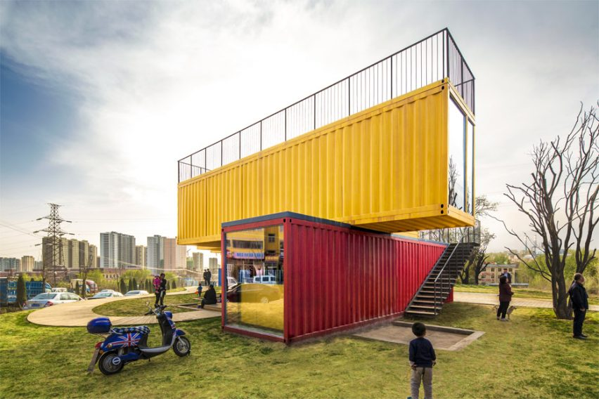 Stacked shipping containers form pavilion by Peoples Architecture