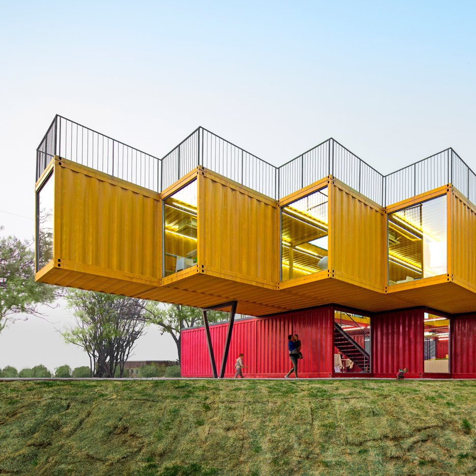 Stacked Shipping Containers House Bedrooms At Vietnam